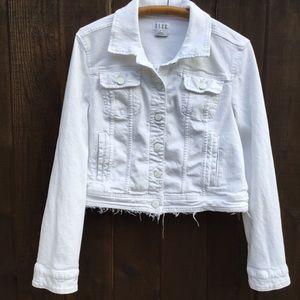 Elle white cropped denim jacket with raw hem